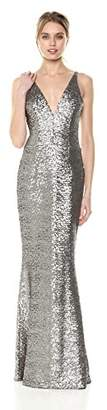 Dress the Population Women's Harper Sequin Sleeveless Plunging Long Gown