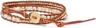 Chan Luu 18-karat Gold-plated Sterling Silver, Leather, Swarovski Crystal And Mother-of-pearl Bracelet