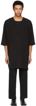 Jan-Jan Van Essche Black Long Woven Linen Tunic T-Shirt