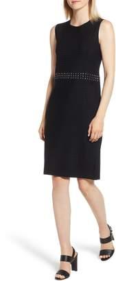 Ming Wang Sleeveless Stud Sheath Dress