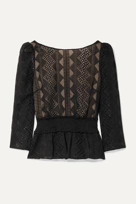 Rachel Zoe Peri Smocked Embroidered Crepon Blouse - Black
