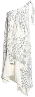 Halston One-Shoulder Printed Crepe Dress