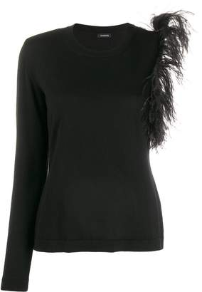P.A.R.O.S.H. shoulder-feathers one-sleeve top