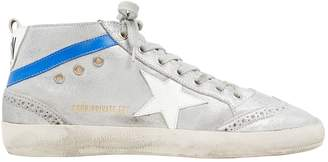 Golden Goose Mid Star Shearling Suede Silver Sneakers