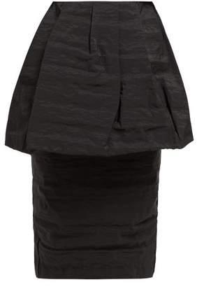 Simone Rocha Peplum Taffeta High Rise Pencil Skirt - Womens - Black