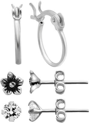 clear ITSY BITSY Itsy Bitsy Ear Trios 3 Pair Simulated Sterling Silver Earring Set