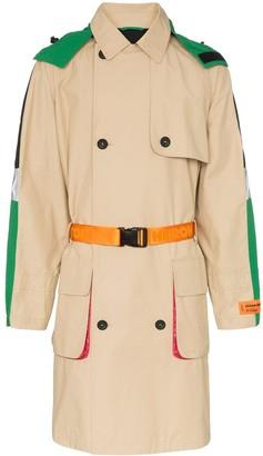 Heron Preston hooded waist belt trench coat