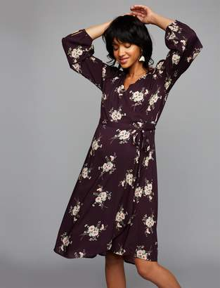 Pea Collection Velvet Floral Wrap Maternity Dress