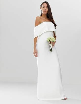 Asos Edition EDITION crepe off shoulder wedding column dress