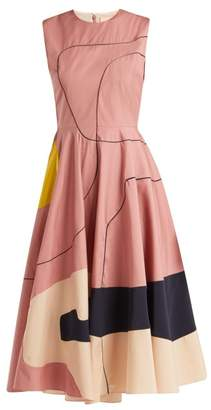 Roksanda Tasia Abstract Print Cotton Blend Midi Dress - Womens - Pink Multi