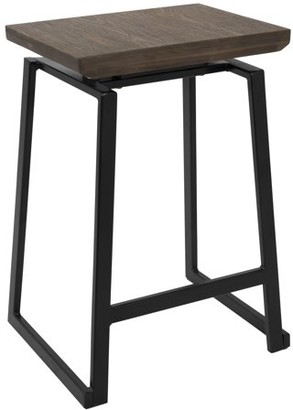 Lumisource Geo Industrial Counter Stool in Black with Brown Wood Seat by Set of 2