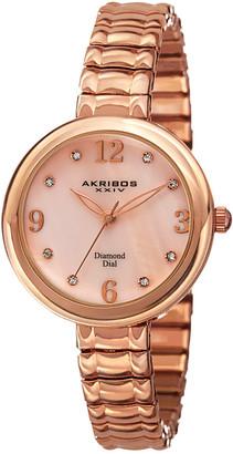 Akribos XXIV Women's Stainless Steel Expandable Diamond Watch