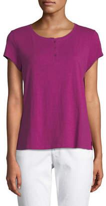 Eileen Fisher Cap-Sleeve Slubby Organic Cotton Jersey Tee
