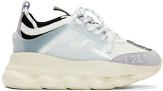 Versace White and Purple Chain Reaction Sneakers