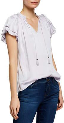 Paige Laramie V-Neck Ruffle-Sleeve Top