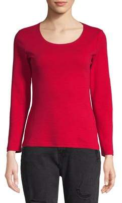 Karen Scott Petite Solid Scoop Neck Tee