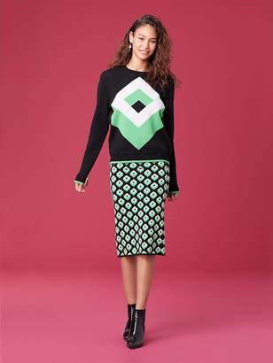 Diane von Furstenberg Cube Jacquard Pencil Skirt