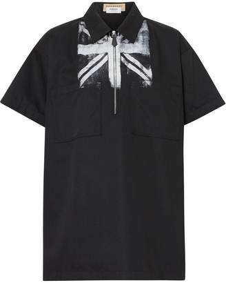 Burberry Short-sleeve Union Jack Print Cotton Shirt