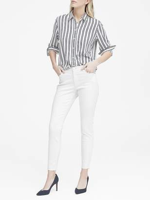 Banana Republic Mid-Rise Skinny-Fit Raw Hem White Ankle Jean