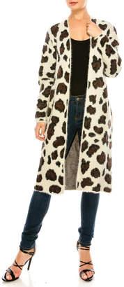 She + Sky Leopard Print Cardigan