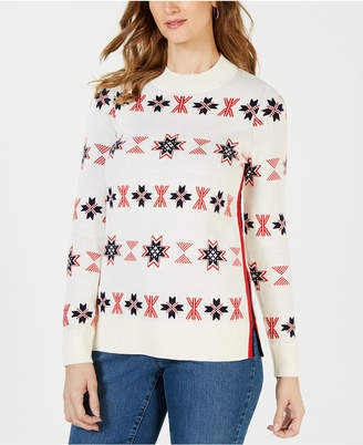 Charter Club Mock-Neck Snowflake Sweater