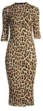 Alice + Olivia Delora Leopard-Print Bodycon Dress