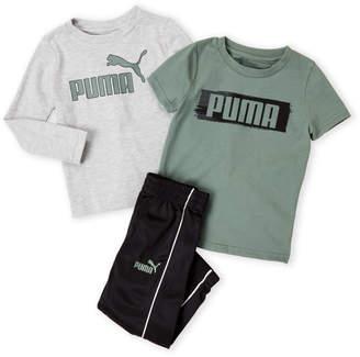 Puma Toddler Boys) 3-Piece Logo Tee & Joggers Set