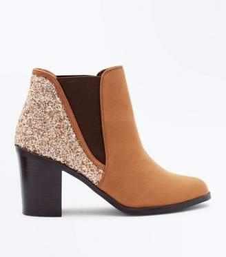 New Look Tan Glitter Back Block Heel Ankle Boots