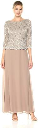 Alex Evenings Women's Petite Long Lace and Chiffon Dress with Scalloped Trim