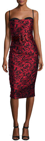 MICHAEL Michael KorsMichael Kors Collection Rose Jacquard Sleeveless Cocktail Dress, Red/Black