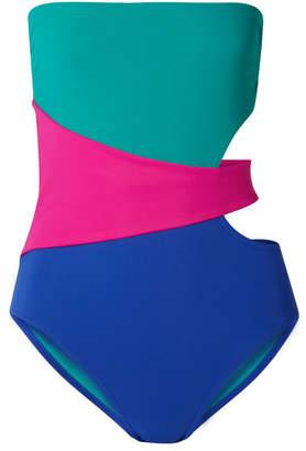 Karla Colletto Marcella Cutout Color-block Swimsuit - Turquoise