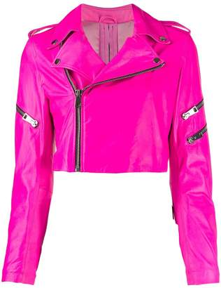 Manokhi cropped zip-up biker jacket