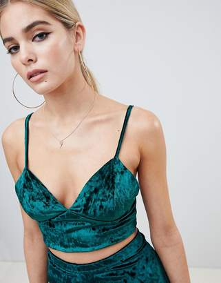 Fashionkilla cami crop top Co-ord in emerald velvet