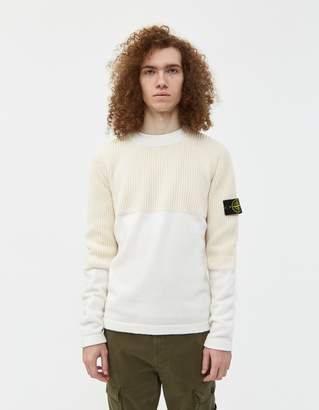 Stone Island Cotton Chenille Lambswool Mix Knit Sweater in Ivory