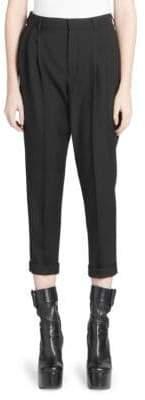 Saint Laurent Mid-Rise Pleat Front Pants