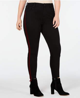 Celebrity Pink Trendy Plus Size Velvet Varsity-Stripe Skinny Jeans