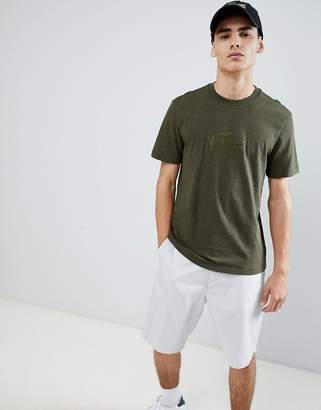 Lacoste embossed croc t-shirt in khaki