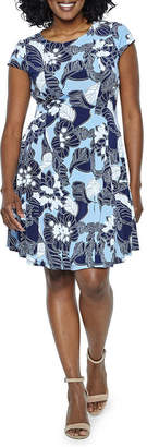 Studio 1 Short Sleeve Floral Fit & Flare Dress-Petite