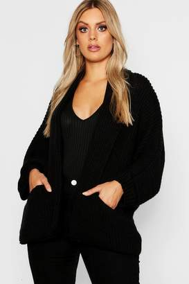 boohoo Plus Pocket Detail Oversized Cardigan