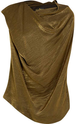 Vivienne Westwood Anglomania - Duo Draped Metallic Jersey Top - Gold