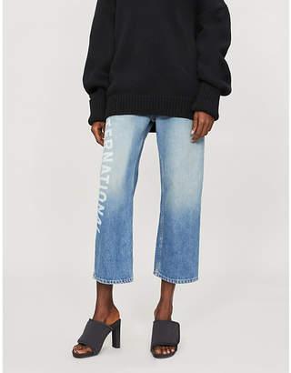 Monse Logo-detail deconstructed regular-fit straight jeans