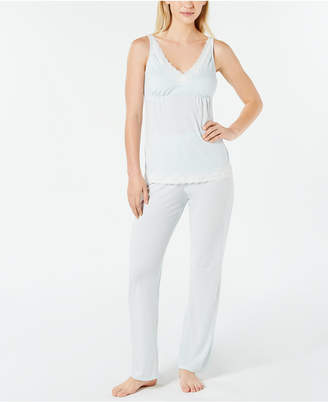 4f09079c78d2 Charter Club Lace-Trimmed Soft Printed Knit Pajama Set, Created for Macy's