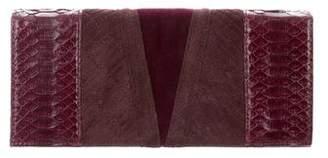 Reece Hudson Snakeskin-Trimmed Leather Clutch
