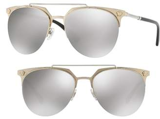 Versace 57mm Mirrored Semi-Rimless Sunglasses