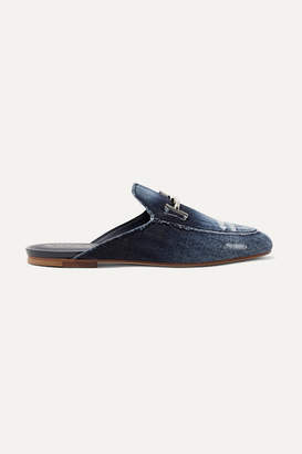 Tod's Embellished Distressed Denim Slippers - Blue