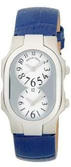 Philip Stein Teslar Signature Dual-Time Stainless Steel & Embossed Leather-Strap Watch