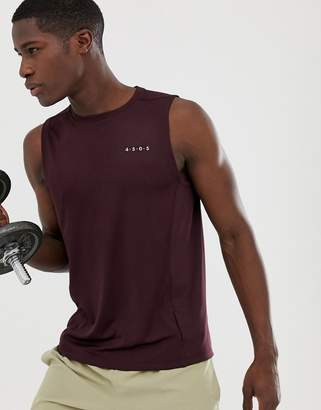 Asos 4505 4505 training sleeveless t-shirt with quick dry in burgundy