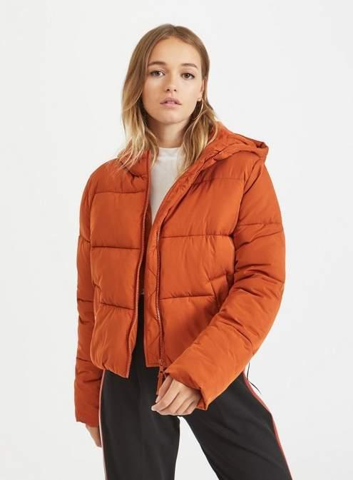 Rust sporty crop puffer coat