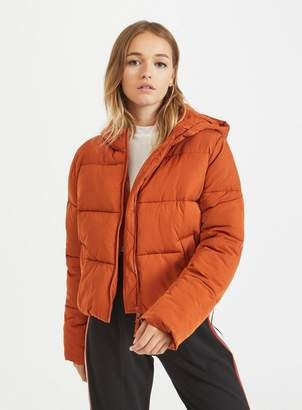 Miss Selfridge Rust sporty crop puffer coat