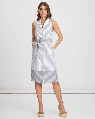 Atmos & Here ICONIC EXCLUSIVE - Shell Striped Midi Shirt Dress